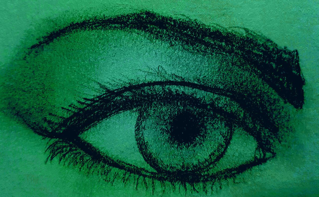Green with envy 👁👁 Green Color Human Body Part Human Eye People Close-up Drawing - Activity Pencil Drawing Sketch Drawing - Art Product