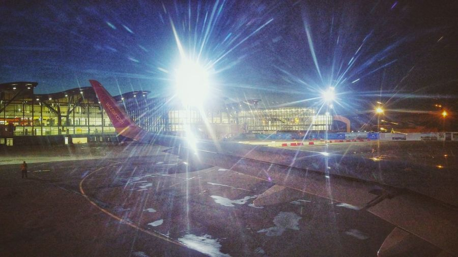 The brand new terminal at Astana airport especially built for the Expo 2017. Kazakhstan Astana Astana The Capital Of Kazakhstan Wizzair Airbus Airbus A320 Winglets Wing Wingview Night Aircraft Lowcost Arts Culture And Entertainment Outdoors Sky