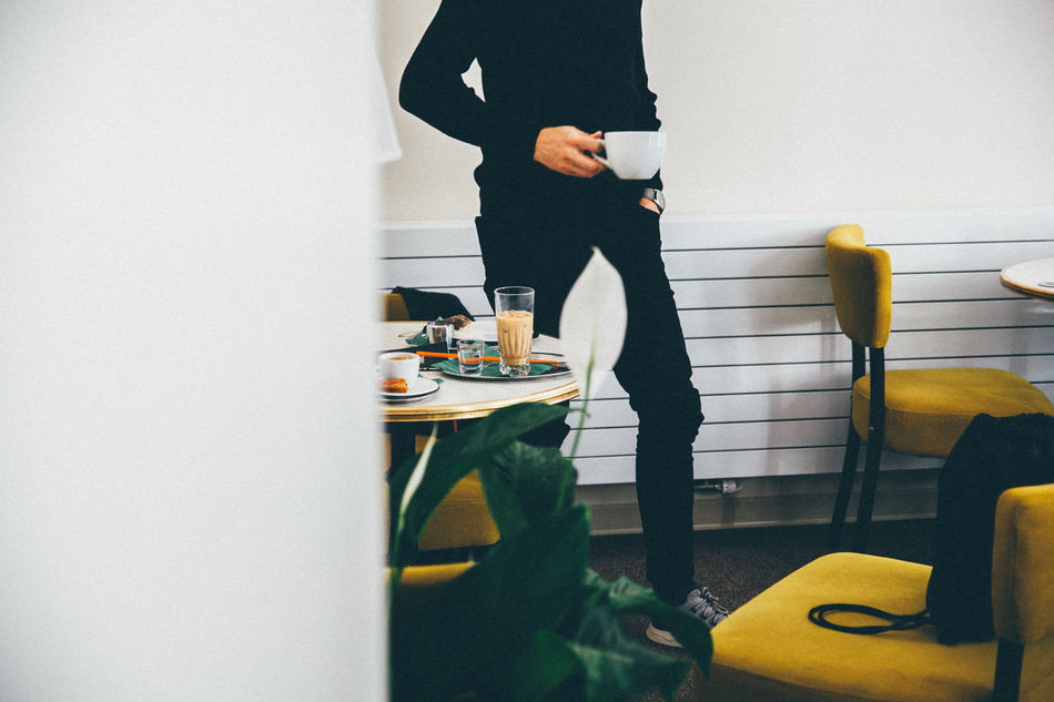 Beautiful stock photos of coffee, indoors, one person, low section, standing