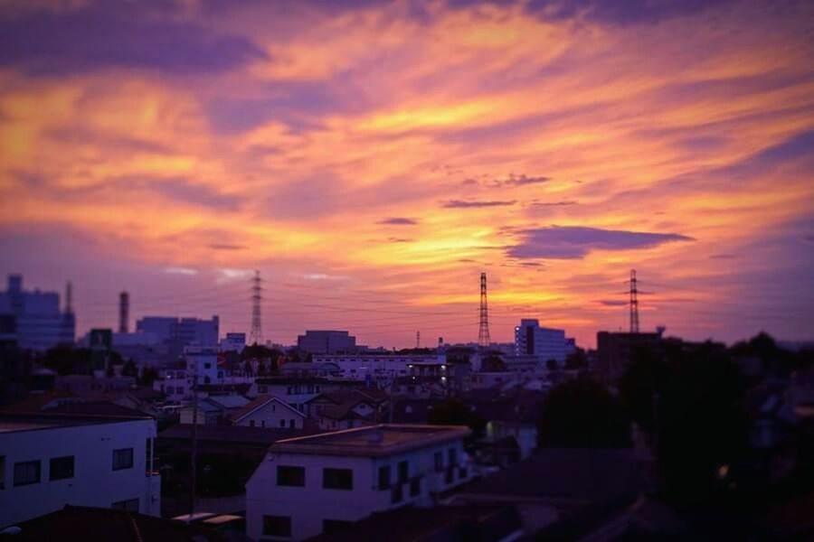 Sunset Sky City Built Structure Japan Tokyo Purple Sky Cloud - Sky Cloud Cityscape No People