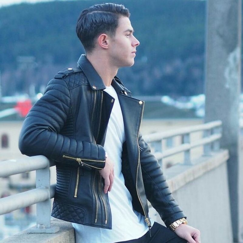 Genuine leather street fashion jackets for men never go out of fashion... Leather Leatherjacket Mensfashion Menstyle Street Fashion Streetstyle