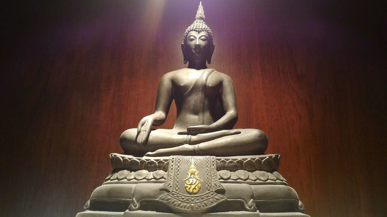 Religion Statue Sculpture Indoors  Statue Of Buddha Buddhist Altar Shadows & Lights Worship Calm King Of Thailand