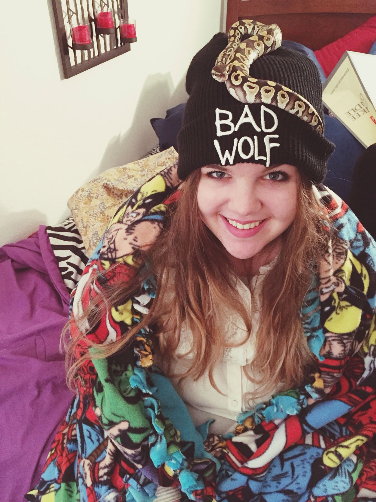 He liked my hat ? Bad Wolf Phython Snake That's Me