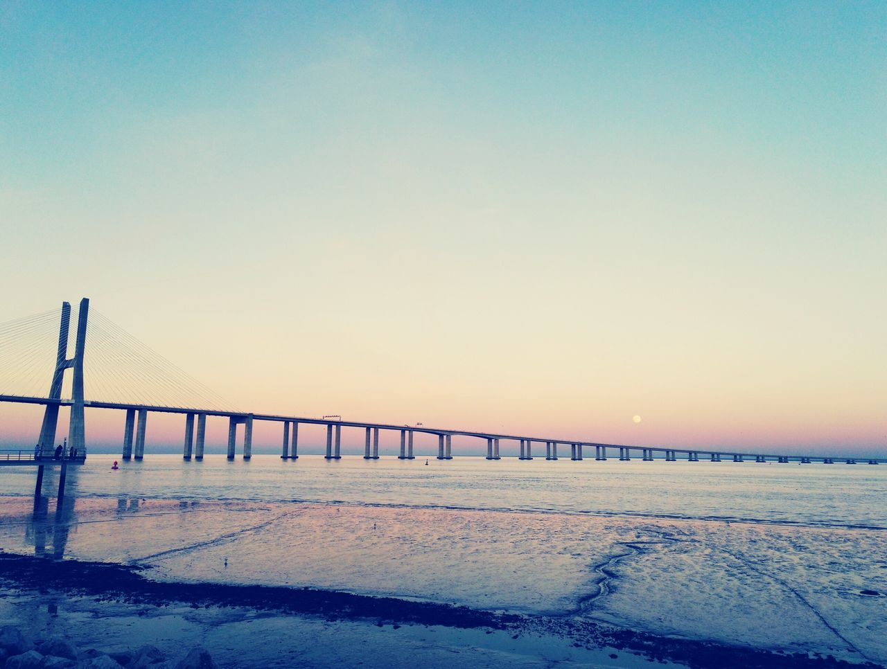 Sunset Clear Sky Sky Bridge - Man Made Structure No People Nature Water Sand Horizon Over Water Evening Sky Lisboa, Portugal First Eyeem Photo