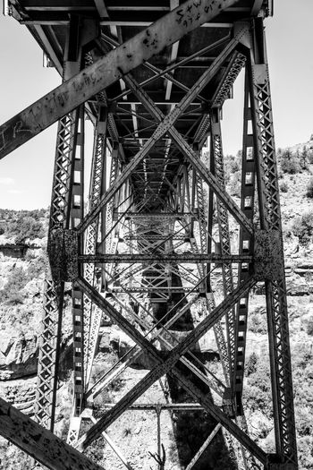 Architecture B&w B&w Photography Black And White Built Structure Canyon Bridge Engineering Girders Metal Metallic Old Road Run-down Fine Art Photography Steel Girders Vintage Bridge