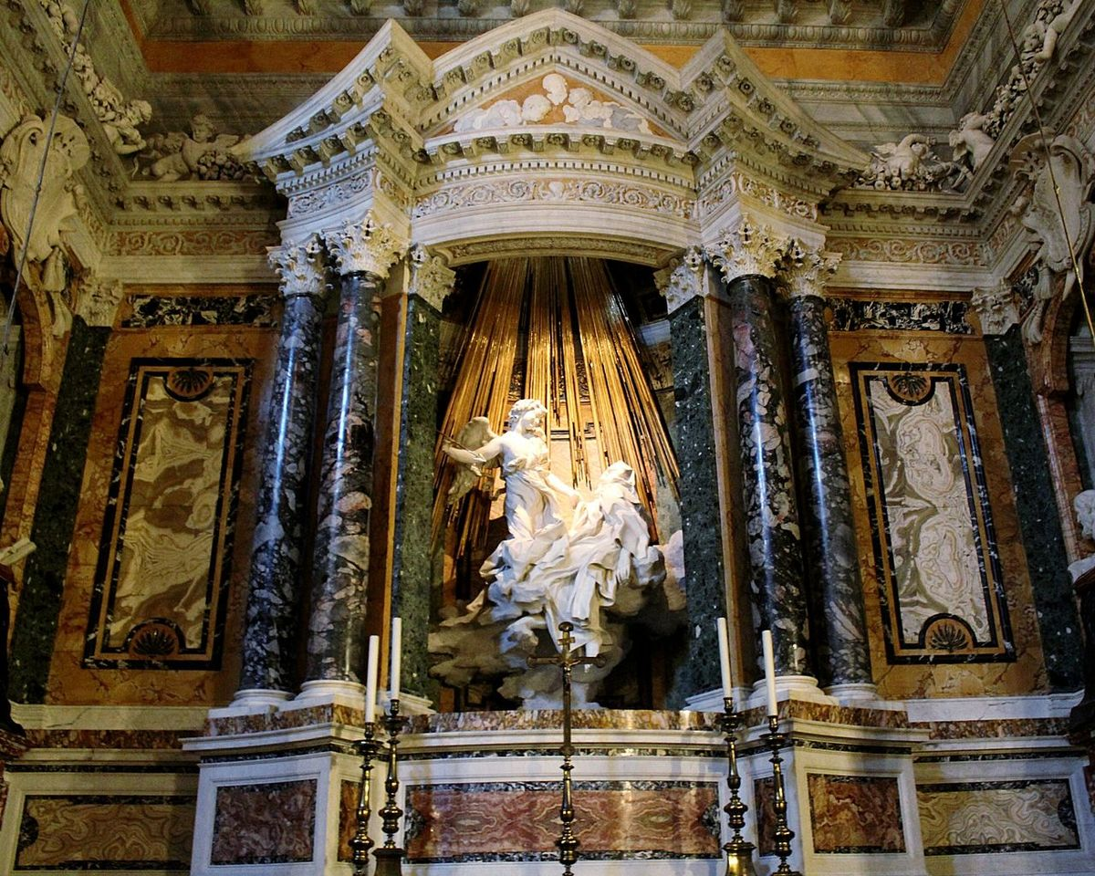 Human Representation Indoors  No People Statue Sculpture Art Italy Low Angle View Baroque The Ecstasy Saint Theresa