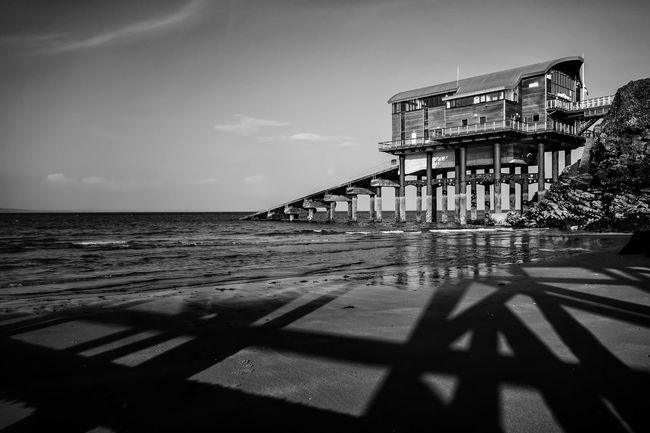 Lifeboat Station... Lifeboat Monochromatic Monochrome Eye4photography  Blackandwhite Photography Black & White Black And White Blackandwhite EyeEm Gallery EyeEm Best Edits Beach Photography Beachphotography Landscape Photography Stucture Building Wooden Structure Pier Metal Structure Metal EyeEm Nature Lover Beautiful Nature Landscape_Collection Seaside Seascape