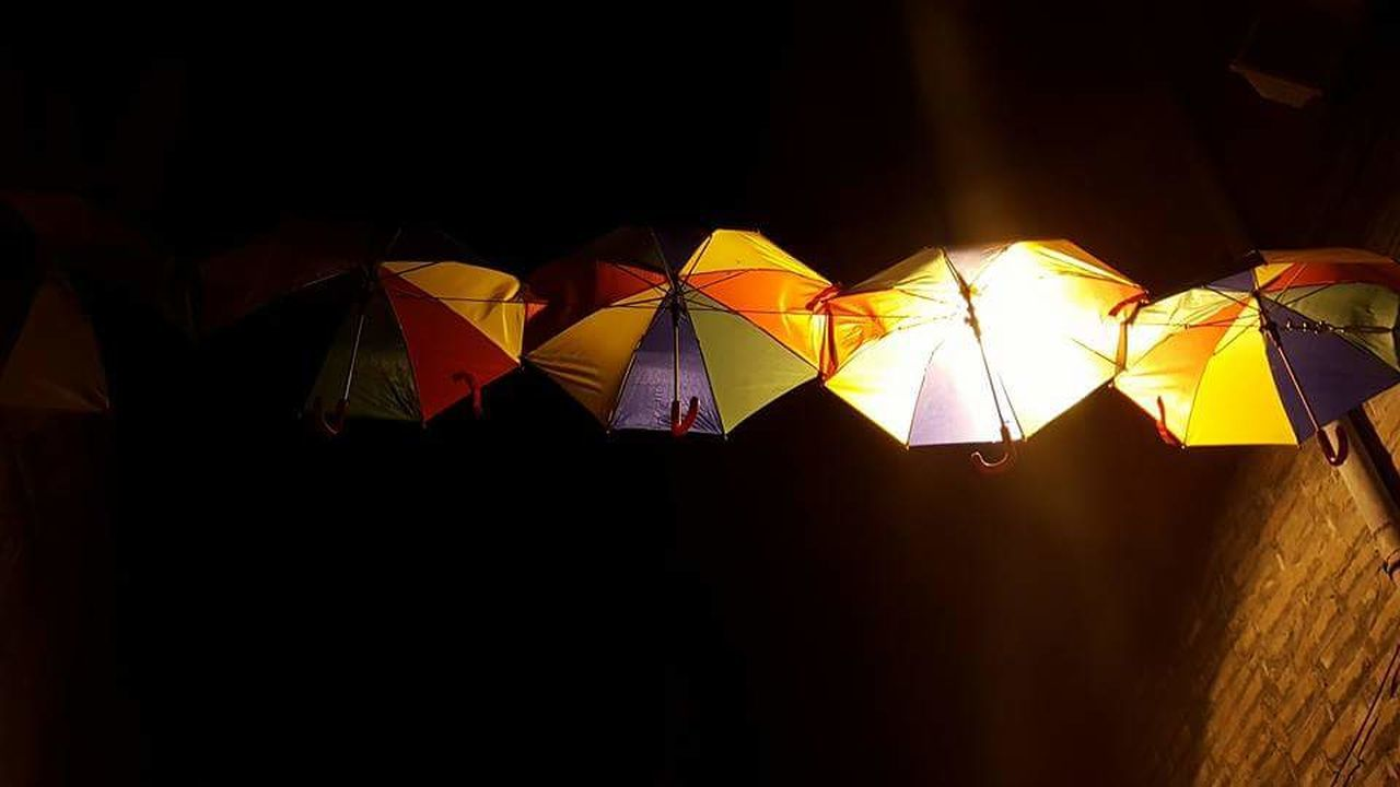 protection, yellow, no people, black background, night, outdoors, multi colored, illuminated, close-up