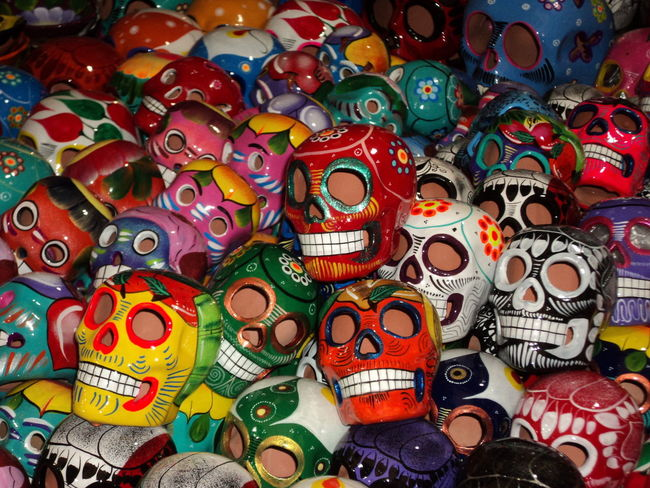 Dia de muertos, tradicion mexicana. ( Day of the departured or day of the dead, mexican tradition celebrated on november 1st and 2nd). Multi Colored Full Frame Variation Large Group Of Objects No People First Eyeem Photo Best Eyeem Pics Best EyeEm Shot Culture And Tradition Mexico Mexico Travel Dia De Muertos México Day Of The Dead Skulls