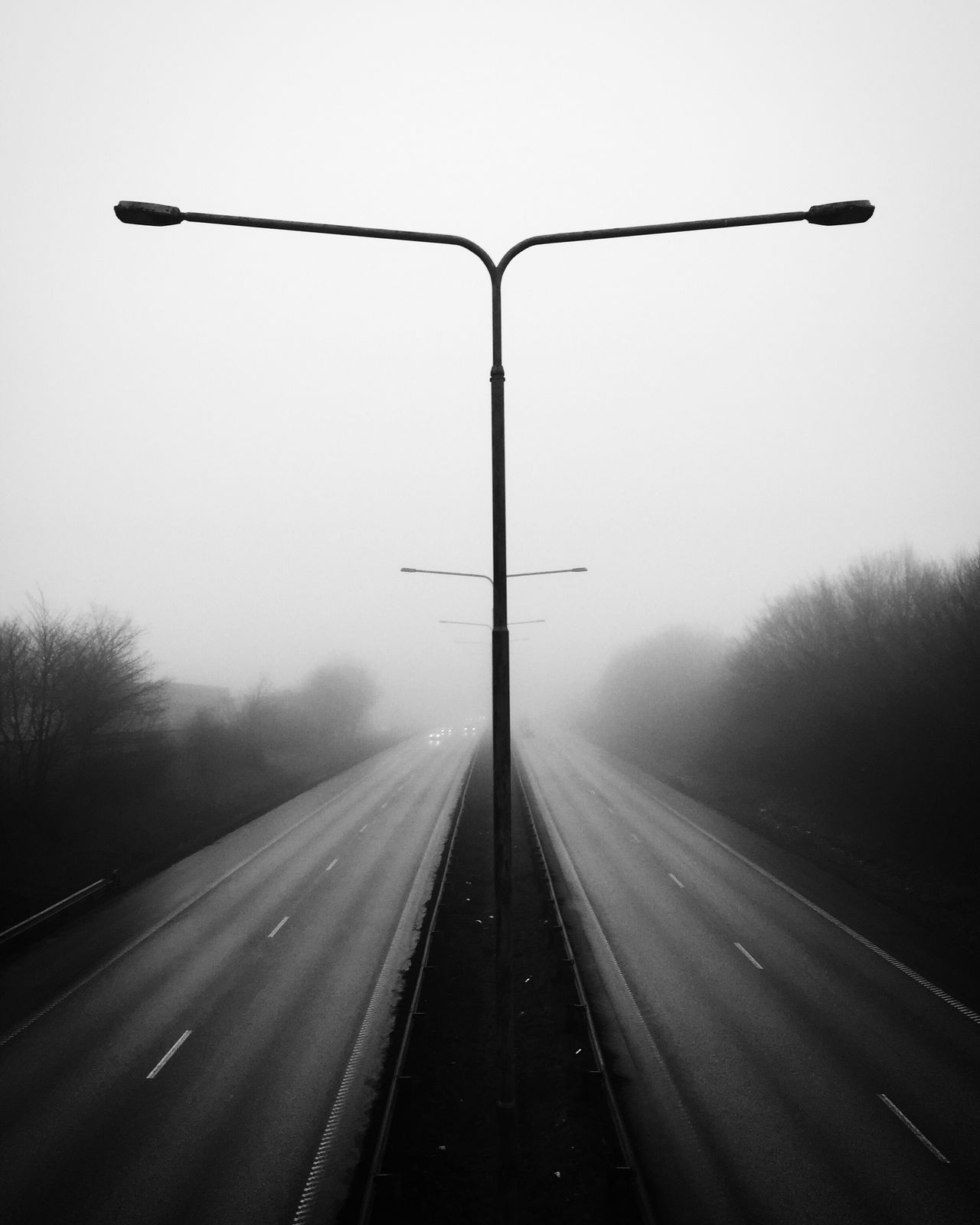 Transportation Road Fog Outdoors Bw_collection The Way Forward Street Light No People Cold Temperature Day Nature Sky Street Photography Monochrome Black And White