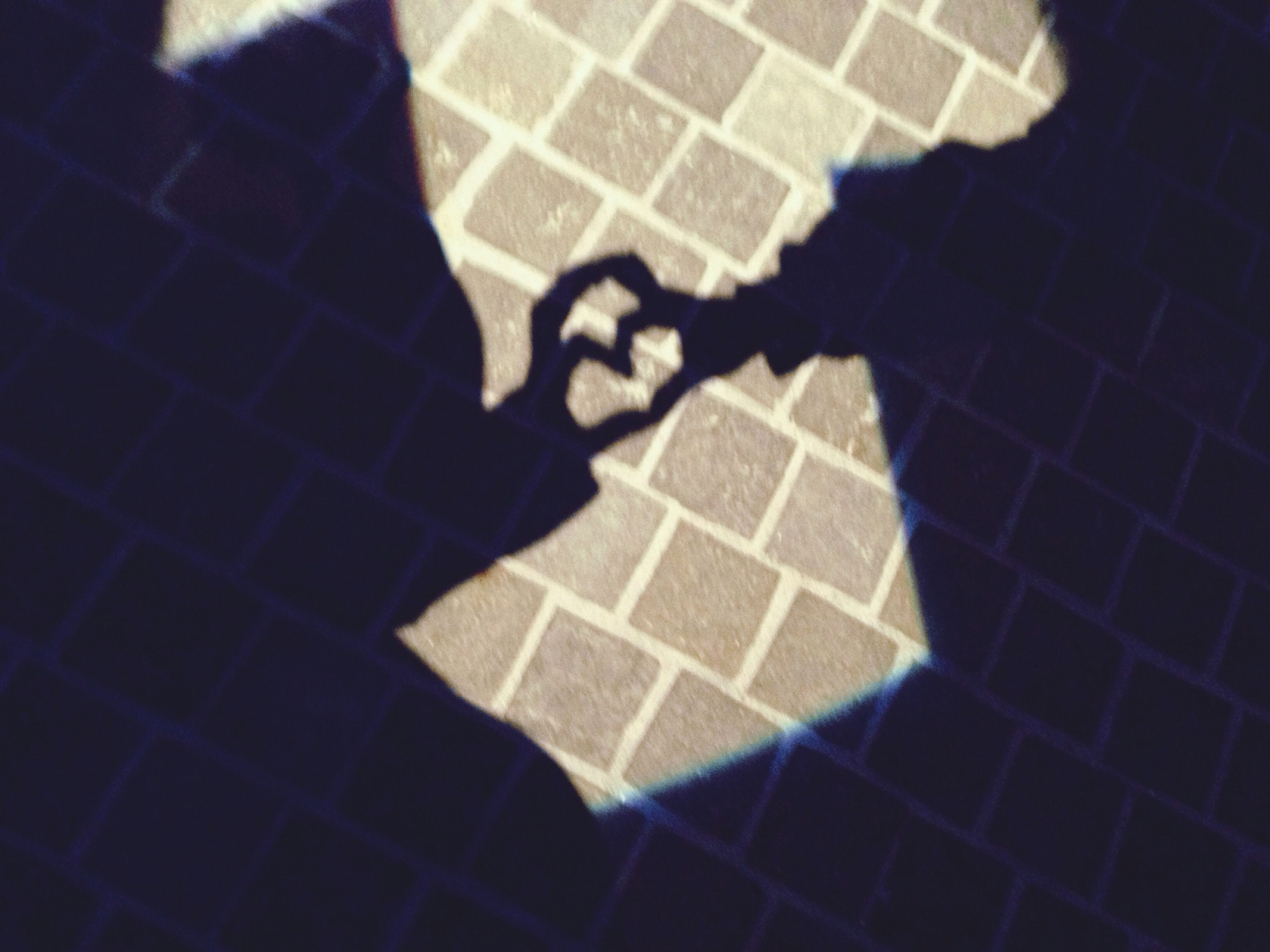 high angle view, pattern, shadow, low section, indoors, tiled floor, flooring, focus on shadow, person, floor, sunlight, paving stone, textured, shoe, standing, close-up, human foot, tile