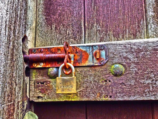 Lock on a wooden gate Lock Gate Wood Wooden Door Fasten Fastening Locked Security Secure