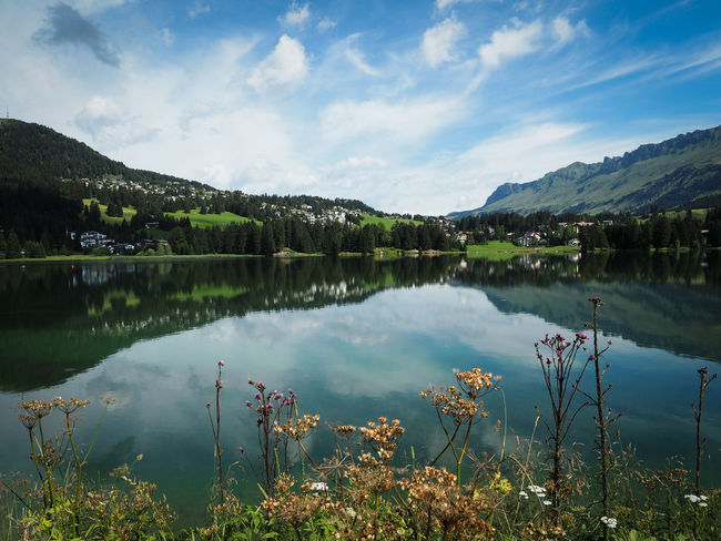 Beauty In Nature Blue Calm Cloud Cloud - Sky Countryside Day Heidsee Idyllic Lake Lakeshore Landscape Lenzerheide Majestic Mountain Nature Non-urban Scene Outdoors Plant Reflection Sky Standing Water Switzerland Tranquility Water