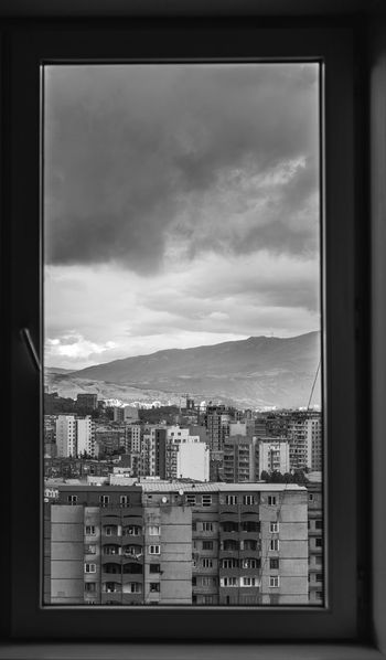Cityscape City Window Architecture Built Structure Building Exterior Indoors  Sky Apartment Urban Skyline Cloud - Sky Mountain No People Outdoors Monochrome Black And White Blackandwhite The Week On EyeEm Check This Out Cloud Fujifilm Tbilisi Georgia Photography Black & White Friday