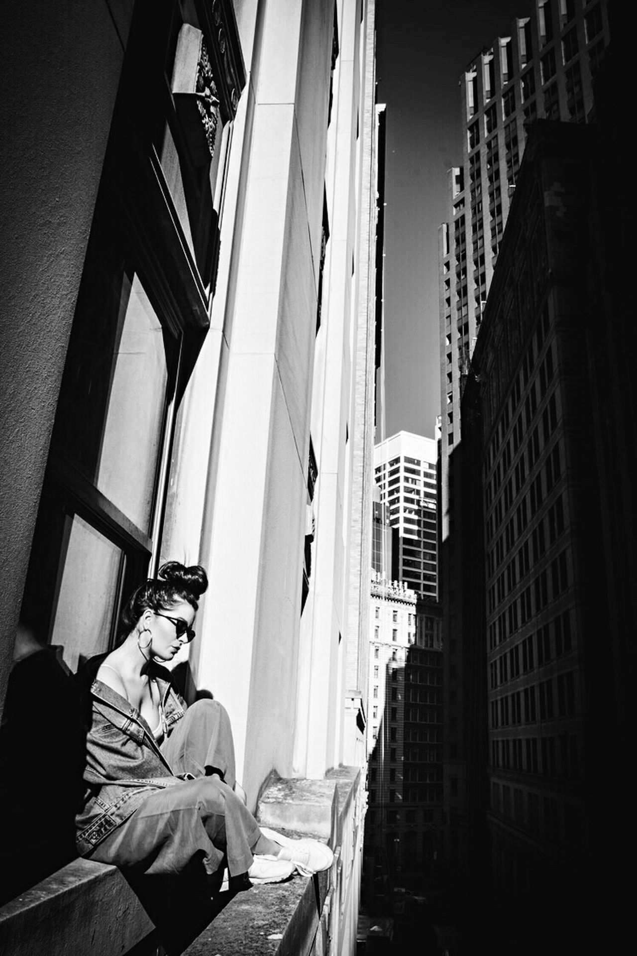 Monochrome Photography Architecture Building Exterior Built Structure Lifestyles City Skyscraper Outdoors Blackandwhite NYC Photography Young Women Portrait Of A Woman New York City Portrait Of A Friend