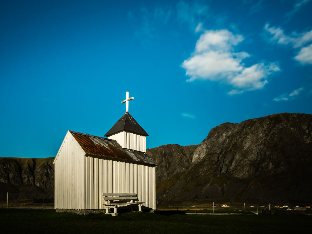 Architecture Arctic Blue Building Exterior Built Structure Church Day Lofoten Lofoten Islands Mountain Nature No People Norway Outdoors Sky Surf Surfing Unstad Unstad Norway