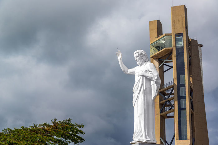 View of El Santisimo statue of Jesus Christ near Bucaramanga, Colombia Bucaramanga Building Catholic Cerro Christ Christianity City Cloud Clouds Colombia Ecoparque Elsantisimo Floridablanca Jesus Landmark Park Religion Santander Santisimo Sculpture Statue Structure Urban View White