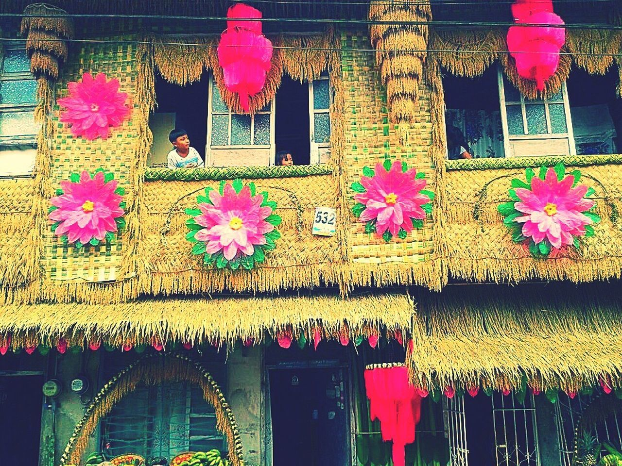 flower, architecture, built structure, window, building exterior, no people, day, multi colored, outdoors, freshness, close-up