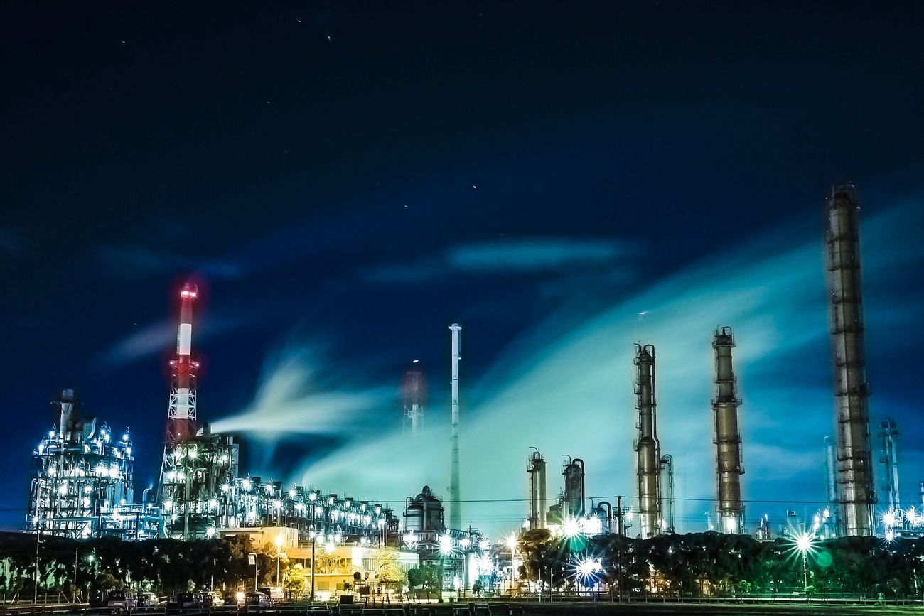 Japan Night Fuel And Power Generation Oil Industry Factory Industry Smoke Stack Built Structure Building Exterior Illuminated Refinery Sky Oil Refinery No People Architecture Outdoors Petrochemical Plant