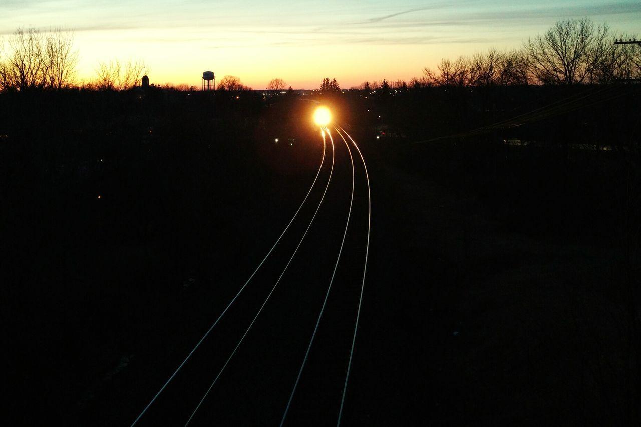 Incoming Train Tracks Horizon Over Land