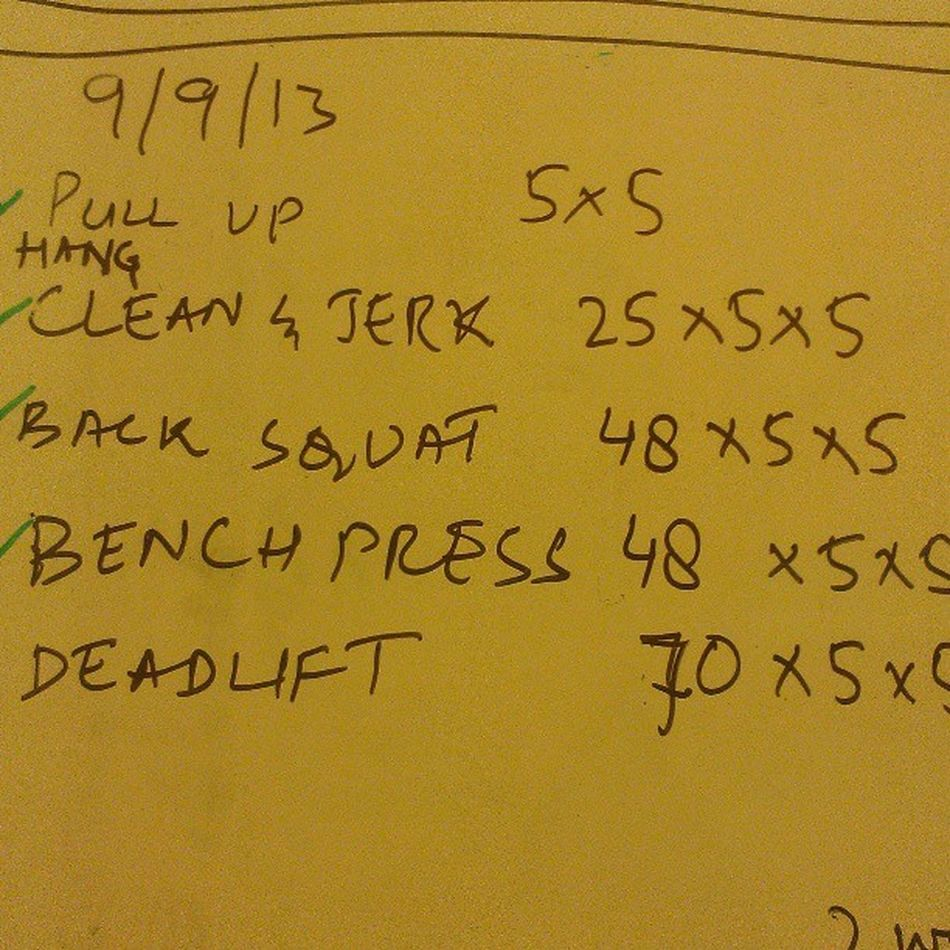 WOD! All weights in kgs Wod for the next 3 weeks @ 60% of PR Pullups Cleanandjerk Backsquats benchpress deadlift training dedication