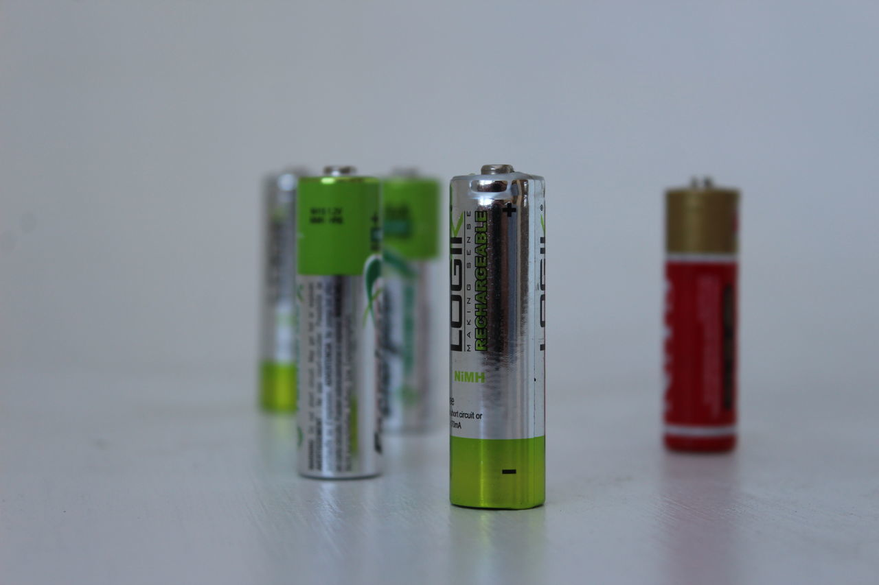 Battery Close-up Energy Focus On Foreground In A Row Negative Odd One Out Positive Rechargeable