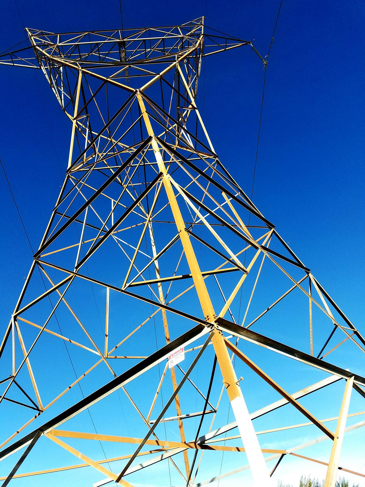 Low Angle View Clear Sky Sky No People Outdoors Day Electricity  Electricity Tower Danger Danger Sign Danger Zone Danger! Dangerous Dangerzone