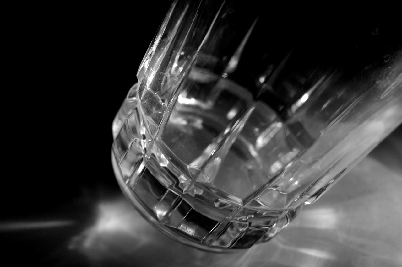 Leaning glass Black Background Close-up Drinking Glass Glass Indoors  Light Refraction Light Source No People
