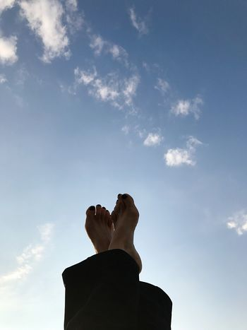 Just relax and watch the clouds Sky Cloud - Sky Real People One Person Low Angle View Human Body Part Love Yourself Leisure Activity Day Human Leg Outdoors Lifestyles Low Section Adult People Nature