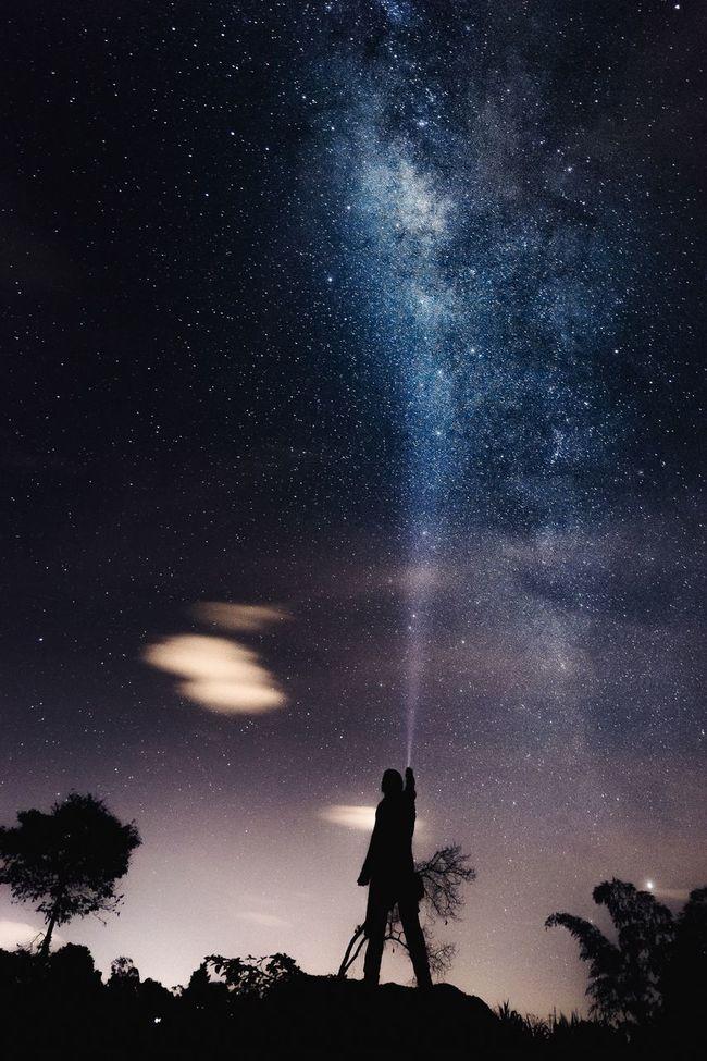 Contemplando el camino de leche Milkyway Star Night Light Nikon Nocturna Via Lactea Landscape Nature Space