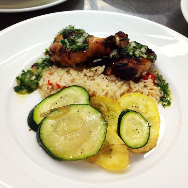 Chicken Rice And Green And Yellow Squash With Sauce