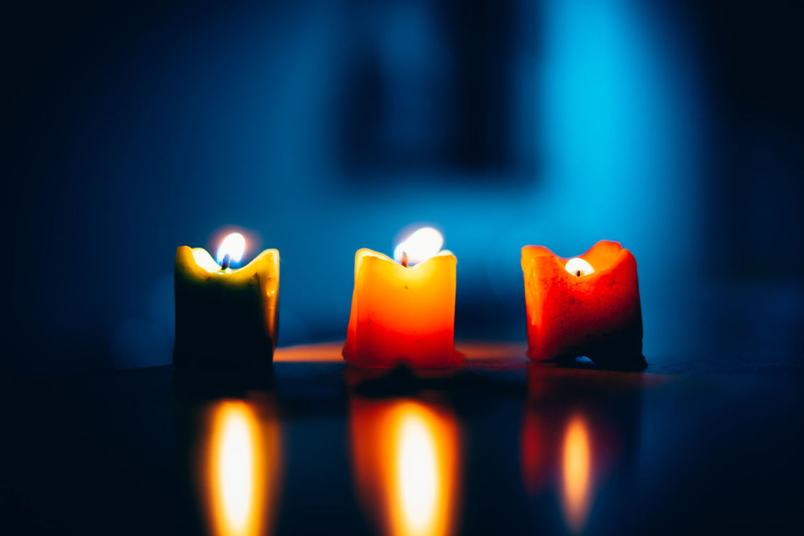 Lights still shine even during your blue days Art Blue Burning Candle Celebration Close-up Colorful Cool Fire - Natural Phenomenon Flame Glow Glowing Heat - Temperature Illuminated In A Row Life Light And Darkness  Matte Multi Colored No People Prayer Reflection Spiritual Three Candles EyeEmNewHere Neon Life