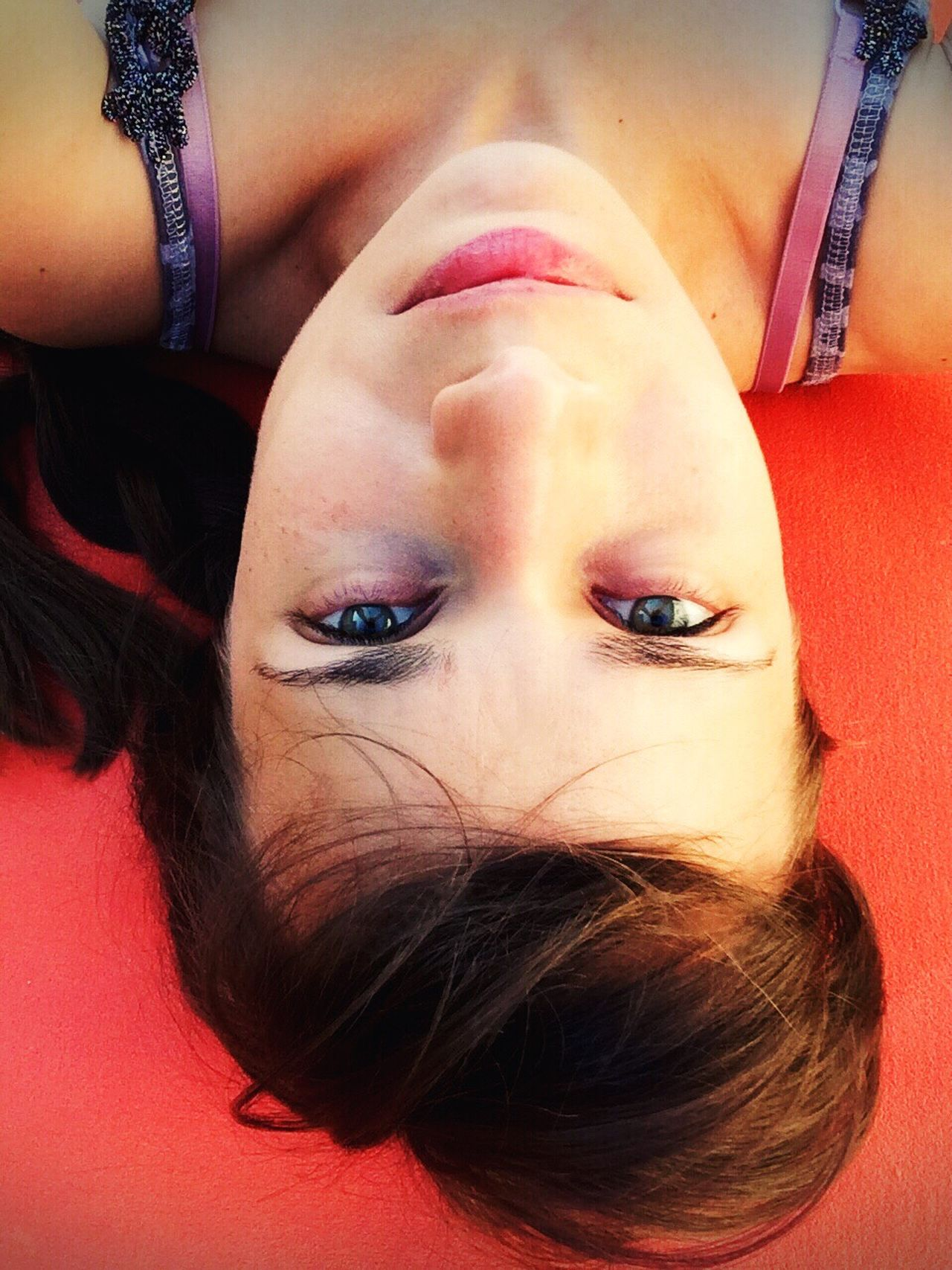 On yoga mat Yoga After Yoga Girl Looking At Camera Self Portrait Selfportrait Hello World Relaxing Enjoying Life Eyeem Selfie Eyeemphotography Woman Woman Portrait
