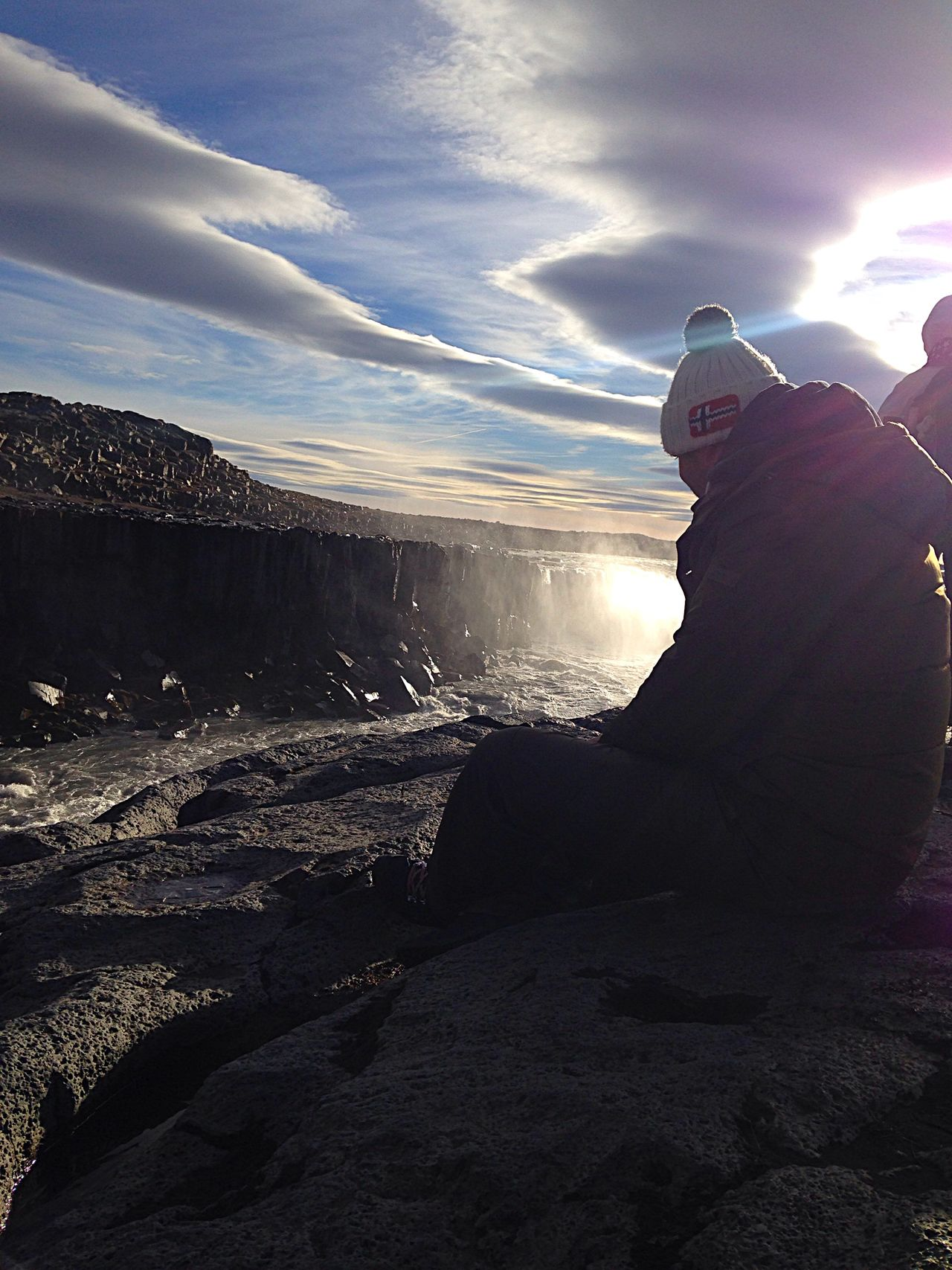 The Man With The Pompon Waterfall Iceland Beautiful Sun