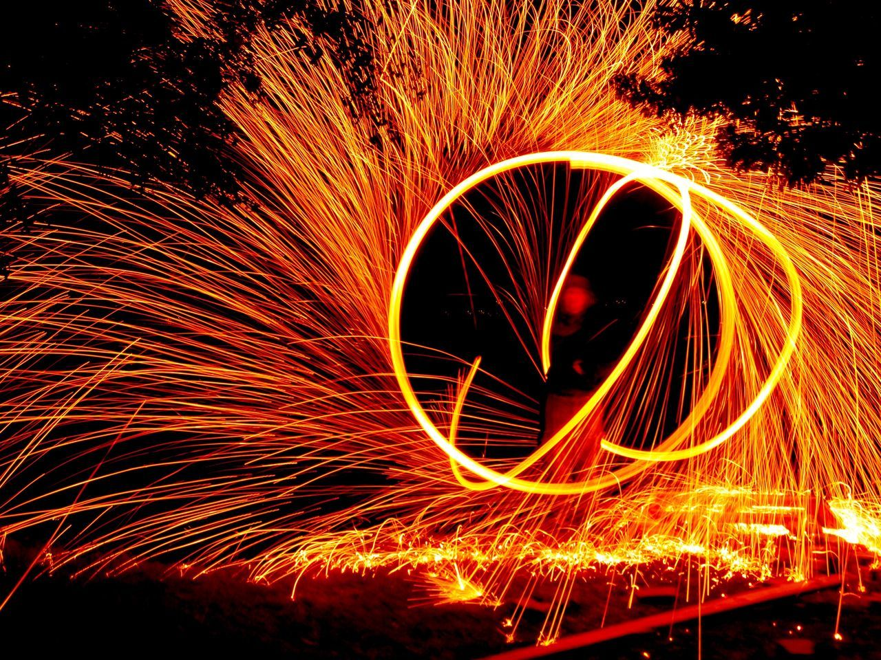 Pyrotechnics 🎇 🔥🔥🔥🔥 Long Exposure Wire Wool Motion Night Spinning Illuminated Circle Light Painting Danger Orange Color Speed Outdoors Standing Skill  Pyrotechnics Fire Fireworks