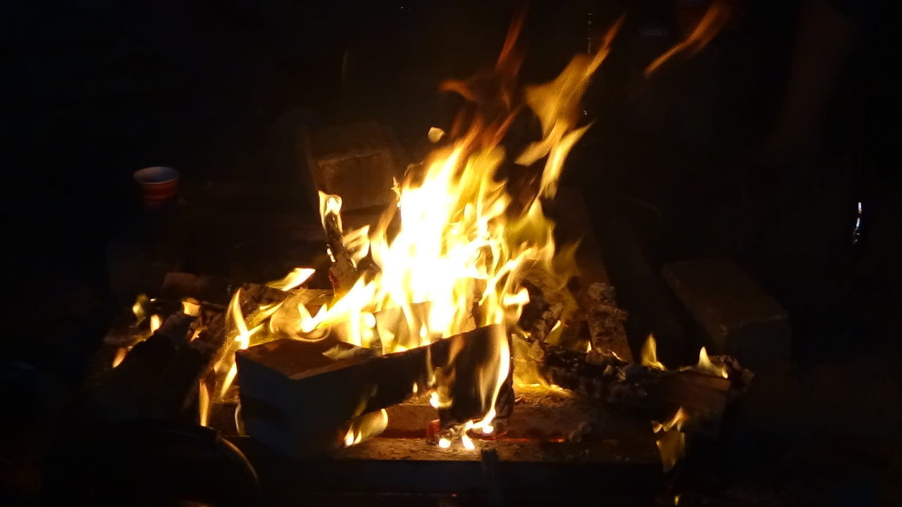 burning, flame, glowing, heat - temperature, night, bonfire, outdoors, no people, close-up