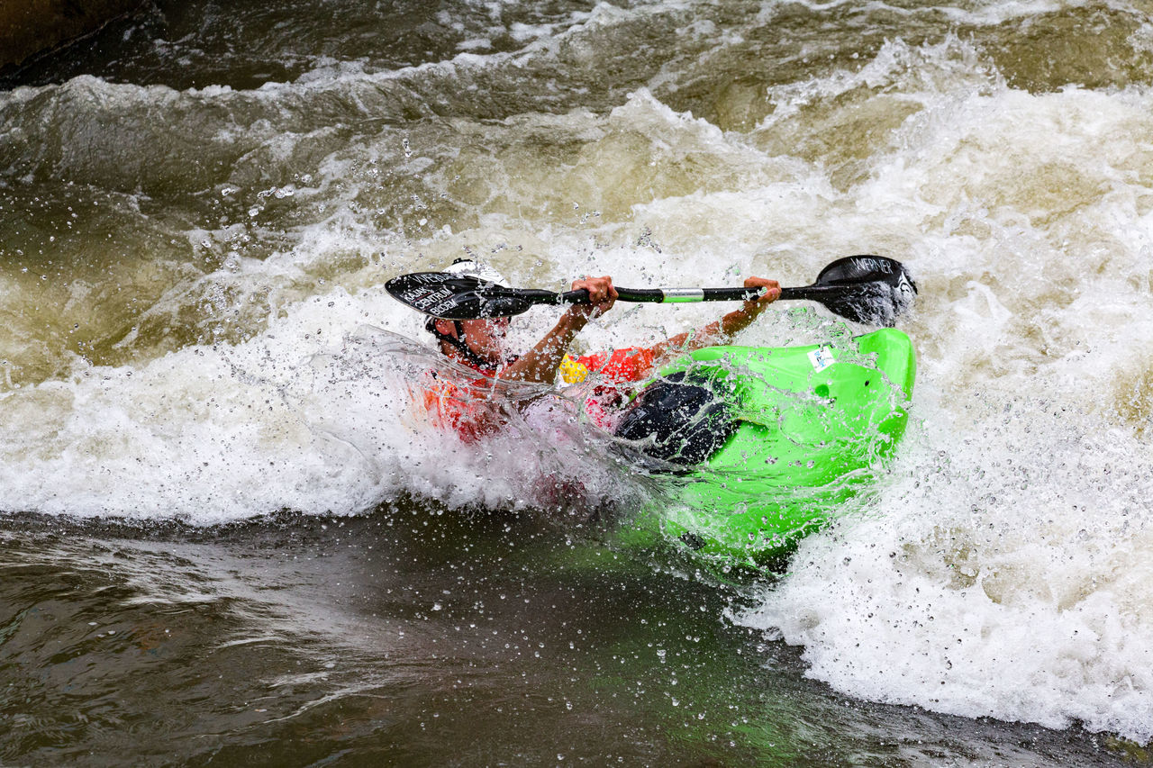 adventure, motion, rapid, oar, extreme sports, river, transportation, sport, sports helmet, one man only, nautical vessel, day, kayak, nature, men, one person, only men, people, outdoors, adults only, adult