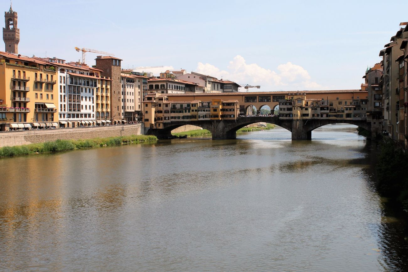 Architecture Bridge - Man Made Structure Building Exterior Built Structure City Connection Day Florence Italy Frainf No People Outdoors Public Transportation River Sky Transportation Travel Travel Destinations Water Waterfront