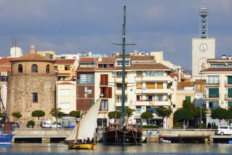 Architecture Boat With Latin Sail In The Port Of Cambrils - Tarragona Building Exterior Day Nautical Vessel Outdoors