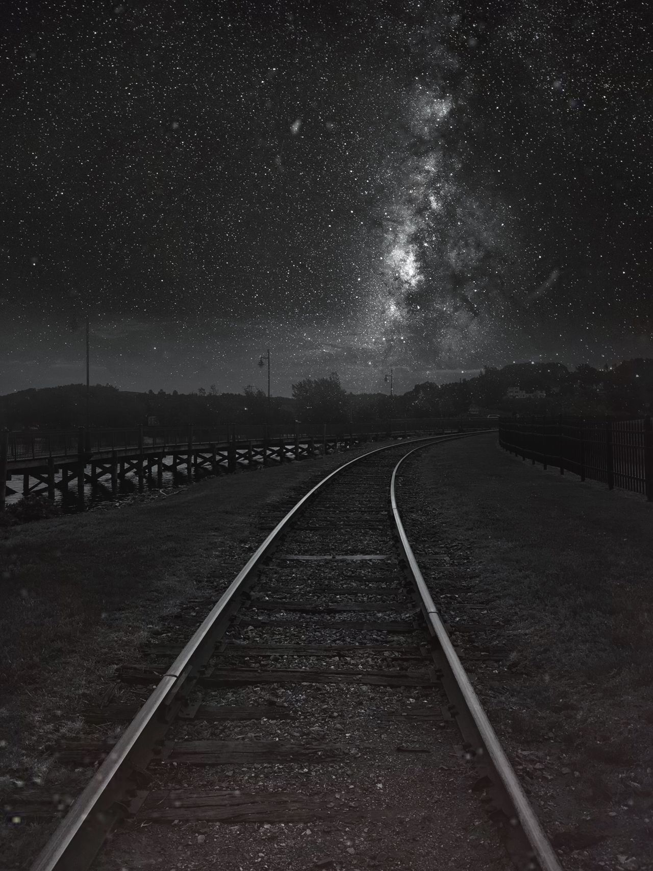 Night Star - Space Astronomy Railroad Track Space Sky Space And Astronomy Transportation Milky Way Star Field Constellation Illuminated No People Nature Galaxy Beauty In Nature Outdoors Astrology Sign