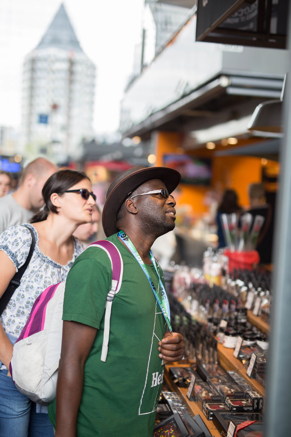 City Life Event Focus On Foreground Markthal Person Rotterdam Standing Zerofotografie.nl