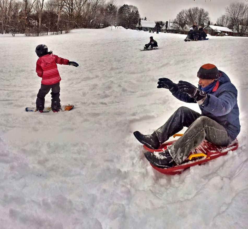 Family Winter Activity Sledding Snowboarding Bonding Cold Temperature Leisure Activity Lifestyles Warm Clothing Winter Look Ma No Hands With My Little Girl Treat The Kids For Some Winter Activity