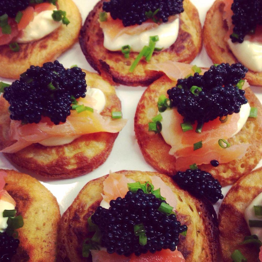 Food Blinis Caviar Salmon