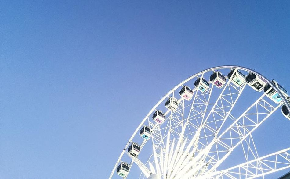 Amusement Park Amusement Park Ride Arts Culture And Entertainment Big Wheel Blue Cape Town Cape Wheel Capetown Clear Sky Day Ferris Wheel Low Angle View Minimalism No People Outdoors Rollercoaster Semi-circle Sky South Africa V & A Waterfront