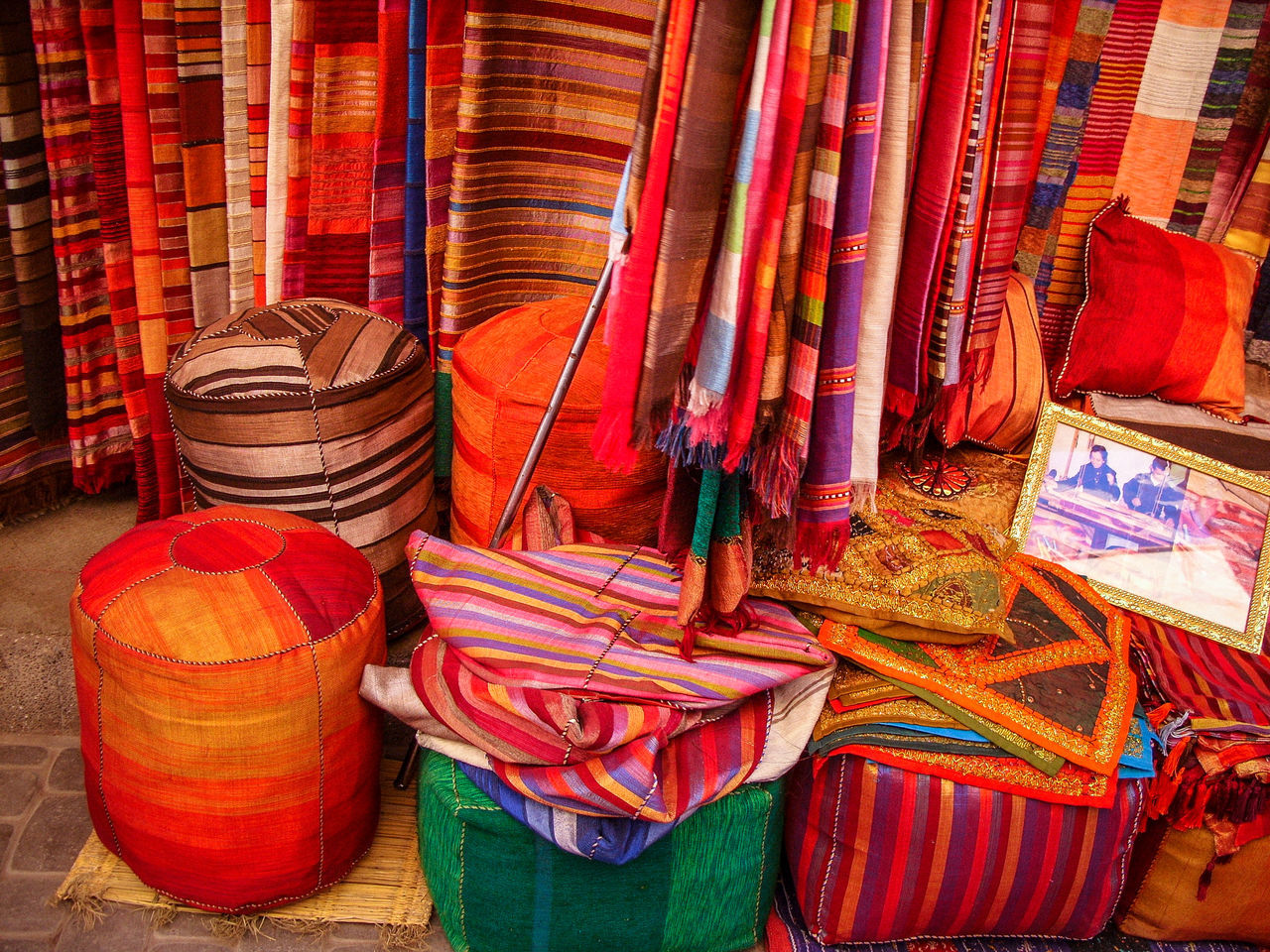 Fabrics shop in the basal of Marrakesh Africa Basar Close-up Day Fabric Fabric Shop Fabrics Goods Linen Marrakesh Morocco Multi Colored No People Outdoors Shopping Textiles