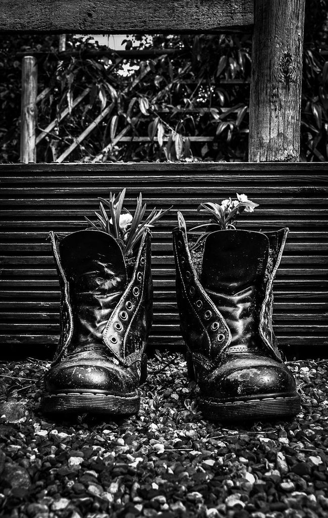 His ⁞ Dr Martens Balance Blackandwhite Black And White Black And White Photography Black&white Black & White Blackandwhite Photography Black And White Collection  EyeEm Best Shots EyeEm_crew City Of London AMPt_community Eye4photography  London The Minimals (less Edit Juxt Photography) Enjoying Life From My Point Of View Garden Photography Garden Flower Collection Flowers,Plants & Garden Recycle Reuse Boots
