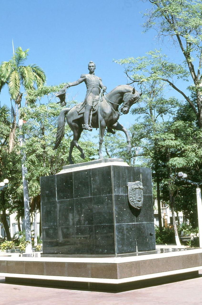 statue, sculpture, tree, human representation, horse, art and craft, male likeness, monument, outdoors, day, park - man made space, architecture, built structure, horseback riding, no people, king - royal person, city, building exterior, sky