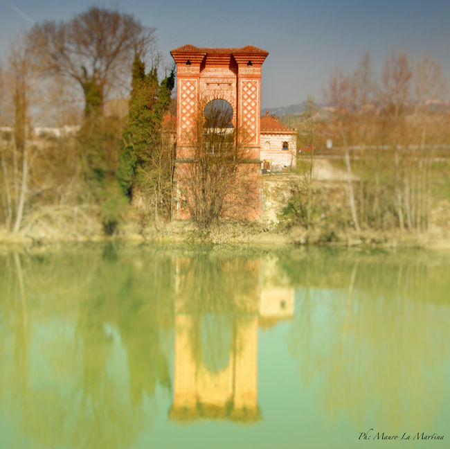 Architecture Beauty In Nature Built Structure Calm Day Fiume Lake Nature Neogothic No People Outdoors Pollenzo Ponte Reflection Reflection River Scenics Sky Standing Water Tanaro Tranquil Scene Tranquility Tree Water Water Reflections