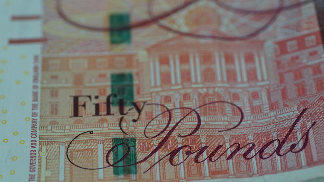 Fifty pounds Close-up Money Pounds Sterling British