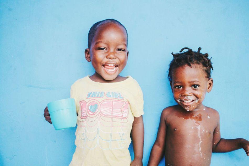 Beautiful stock photos of afrika, looking at camera, waist up, boys, front view